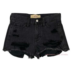 Hollister Distressed High Waisted Black Shorts